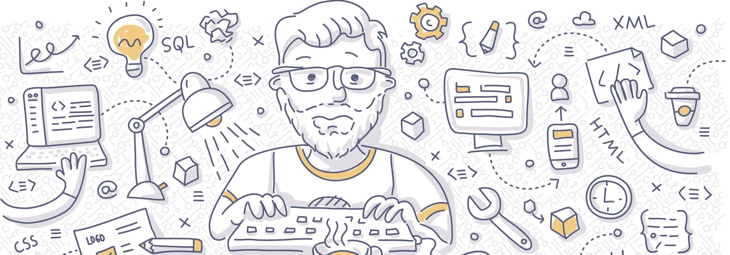 Doodle vector illustration of web developer creating website, client web application, interface. Front-end development concept for web banner, hero image, printed material